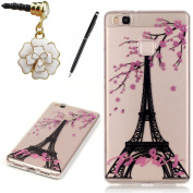 HB-Int 3 in 1 Soft Silicone Back Case for Huawei P9 Lite Eiffel Tower Transparent Soft Back Cover Luxury Clear Shell Floral Paris Pattern Slim Lightweight Sleek Flexible TPU Pouch Frame Full Body Phone Protector Skin Bumper with Stylus Pen + Dust Plug