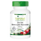 Fairvital - Uve Ursi Bearberry Leaf Extract 500mg - 20% Arbutin - 90 Vegetarian Capsules