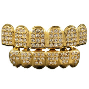 New premium 18k gold plated Iced Out Top & Bottom Grillz Hip Hop Bling Mouth 6 Teeth Caps
