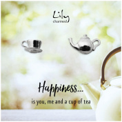 """Lily Charmed - Sterling Silver Teapot and Tea Cup Stud Earrings with """"Happiness"""" Message Card"""