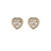 9ct Yellow Gold Crystal studded heart stud earrings / Gift box