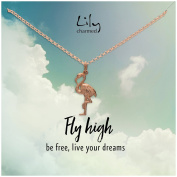"""Lily Charmed - Rose Gold Flamingo Necklace with """"Fly High"""" Message Card"""