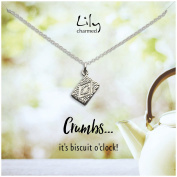 """Lily Charmed - Sterling Silver Custard Cream Necklace with """"Crumbs"""" Message"""