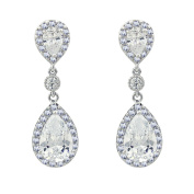 SELOVO Elegant Prong Teardrop Cubic Zirconia Vintage Style Party Bridal Clip-on Dangle Earrings
