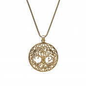 81stgeneration Women's Brass Gold Tone Tree of Life Celtic Wicca Pagan Round Pendant Necklace, 46 cm