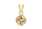 9ct 3 Colour Gold Textured and Polished 4 Way Knot Pendant