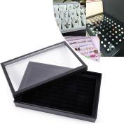 Large Black Velvet 100 Ring Jewellery Display Storage Box Tray Case Organiser Holder