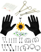 35 Pieces Professional Body Piercing Kit 16G and 14G Sunflower Belly Ring Tragus Ear Eyebrow Nipple Lip Nose