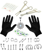 16G and 14G Body Piercing Kit 35 Pieces Jewelled Flower Belly Tongue Tragus Ear Eyebrow Nipple Lip Nose