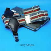 1Pair Sexy Men's Sock Garters Pin Grip Suspender Accessories Grey Stripes