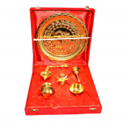 Traditional Gold Plated Brass Pooja Thali Set of 7 Pcs with Box Packing