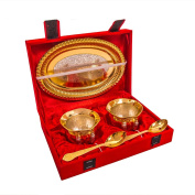 Marusthali Festival Gifts Gold Plated Brass Handi Bowl Set With beautiful Tray With Spoon Get To new Look to Your Home