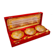 Marusthali Family Gifts Silver And Gold Plated Brass Bowl Set In Red Velvet Box