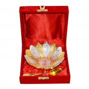 Silver & Gold Plated Brass Bowl Beautiful Spoon Box Packing 2 Pcs