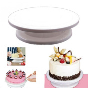 VALINK DIY Cake Decorating Icing Turntable, Cupcake Manually Rotating Turntable, Cake Mounting Tool Cake Stand for Home Kitchen Supplies, 28cm Diameter, White