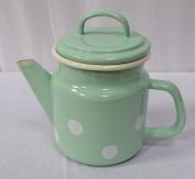 Enamel Teapot, Cover Pot, Tea Pot Pastel Spots Mint White 1 Litre