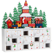 Advent Calendar Father Christmas Wooden Decoration 24 Drawers Xmas Decor Self-Filling