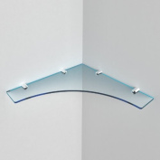 "Large Acrylic Corner Shelf 300mm approx 12"", Free Trolley Token Material Sample Included per Shipment , Cool Blue Tint"