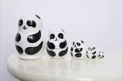 Aomeikang Set of 5pcs Handmade Wooden Panda Russian Nesting Dolls Matryoshka Gift