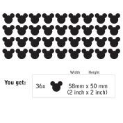 Set of 36 MICKEY MOUSE EARS wall art sticker decal, for baby boys, girls nursery, kids bedroom, laptop, BLACK, 2 x 2 INCH (58 x 50mm) each