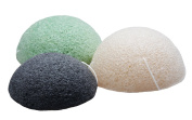 Sinland konjac sponge facial cleansing sponge for Natural Exfoliating and Deep Pore Cleansing Pack of 3 Charcoal Black ,Natural White and Green Tea