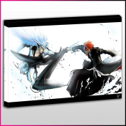 A047 Bleach Ichigo vs Grimmjaw Framed Ready To Hang Canvas Print, Anime, Pop Street Wall Art, Picture
