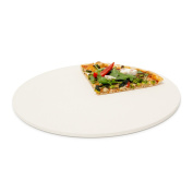 Relaxdays Round Pizza Stone for Baking, Stone, Beige, 33 cm