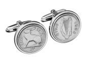 50th Birthday Gift - 1966 Irish Coin Cufflinks-Genuine 1966 Ireland Threepence Cufflinks