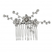 Lux Accessories Silvertone Casted Flower Bride and Crystal Stems Metal Hair comb