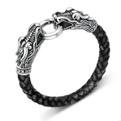 MESE London Leather Dragon Bracelet Black/ Gold/ Silver Men's Viking's Serpent Head 21.5cm