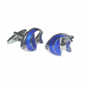 Mens Shirt Accessories - Blue Tropical Fish Cufflinks (With Black Presentation Box) - Novelty Animal Theme Jewellery