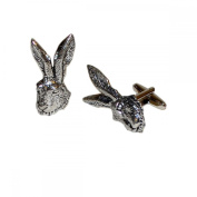 Mens Shirt Accessories - Hares Head Pewter Cufflinks (With Black Presentation Box) - Novelty Animal Theme Jewellery