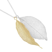 Real Leaf Silver and Gold Bay Leaf Necklace