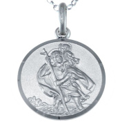 """Sterling Silver St Christopher Pendant with 18"""" Chain - 18mm"""
