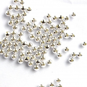 100pcs Genuine 925 Sterling Silver Round Ball Beads for Jewellery Making Findings