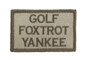 Golf Foxtrot Yankee Hook and loop Tactical Funny Morale Patch