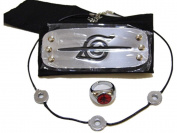 Naruto Uchiha Itachi's cosplay anti-leaf headband & ring & necklace 3 items kit set