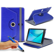 N4U Online® - Blue Tablet Luxury 360° Rotating PU Leather Wallet Spring Stand Skin Case Cover & Touchscreen Stylus Pen For Argos Bush MyTab (20cm ) Tablet