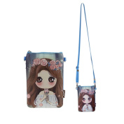 Teens Girls Kids Students Lovely Cartoon PU Leather Mini Shoulder Bags Crossbody Bags Cell Phone Case Holder Small Wallet Purse Cash Key Coin Pouches Clutch Handbag Blue