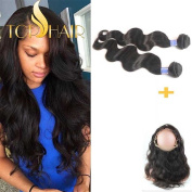 Top Hair 360 Lace Band Frontal Virgin Hair With 2 Bundles Brazilian Virgin Body Wave Human Hair Weave With 360 Lace Frontal Band Closure 22.542 Baby Hair Around And Natural Hairline