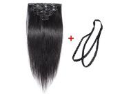 ALi Queen 6A 60cm Off Black 1B# Virgin Brazilian Straight 100g Clip In Human Hair Extension 8pcs/set Clip In Hair Accessories + 1pcs Plait