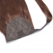 60cm Straight Wrap Around Ponytail Human Hair extensions for Women 100gram Dark Brown #4