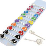 Crystal Heart Hair Pins