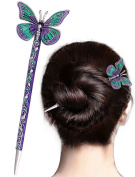 LiveZone Fashion Hair Decor Chinese Traditional Style Women Girls Hair Stick Hairpin Hair Making Accessory with Butterfly ,Purple