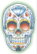 Day of the Dead El Jugador Sugar Skull Temporary Tattoo - Pack of 3 Tattoos