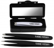 Classic Necessity Eyebrow Tweezers Set with Compact Mirror Magnifying Case