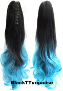 Beauty Wig World 21inch 55cm 100g Two Tone Long Wave Curly Woman Claw Clip Ponytail Clip on/in Hair Extensions - #Black to Turquoise