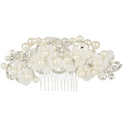 EVER FAITH® Wedding Lace Flower Clear Crystal Ivory-colour Simulated Pearl Hair Comb