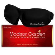 Sleep Mask - MADISON GARDEN - Eye Mask for Sleeping Deeper, Contoured & Adjustable Strap Eyemask, Silk Blindfold with Ear Plugs Travel Pouch, Men Women Kids, Insomnia Aid Light Blocking Eyeshade