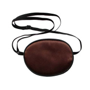 UZZO Pirate Eye Patch,No Leakage Smooth Soft and Comfortable Elastic Silk Eye Patch for Adults Lazy Eye Amblyopia Strabismus,Coffee